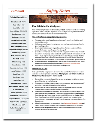 Fall 2018 Safety Notes Newsletter