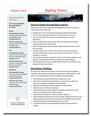 Winter 2017 Safety Notes Newsletter